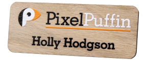 Printed Wooden Name Badges | www.namebadgesinternational.co.uk